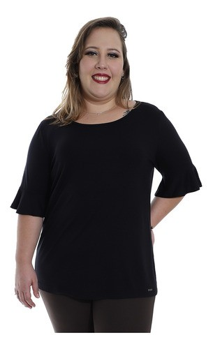 Blusa Plus Size Feminina Decote Redondo Visco Preto