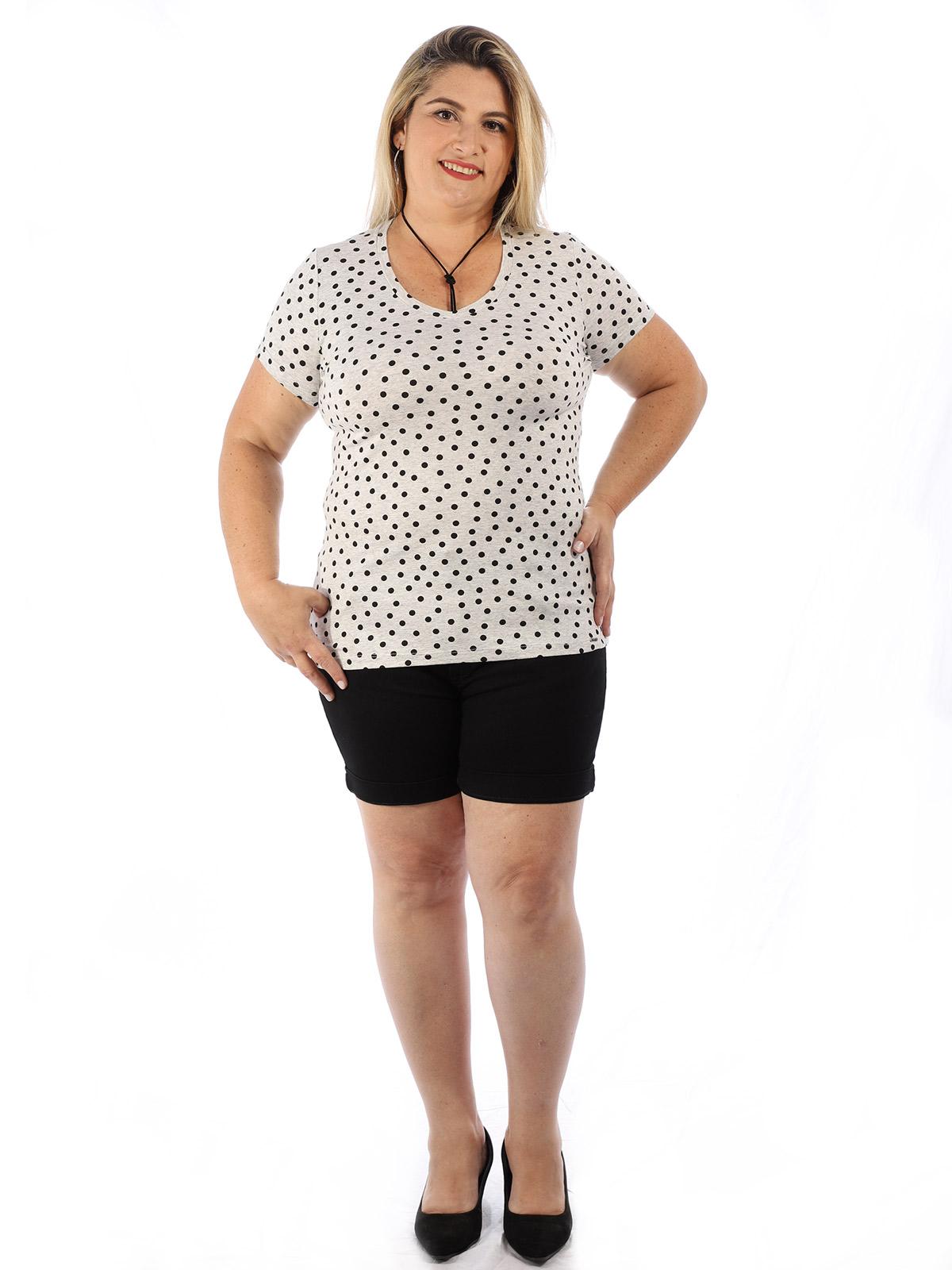Blusa Plus Size Feminina Decote V. Estampada Mescla