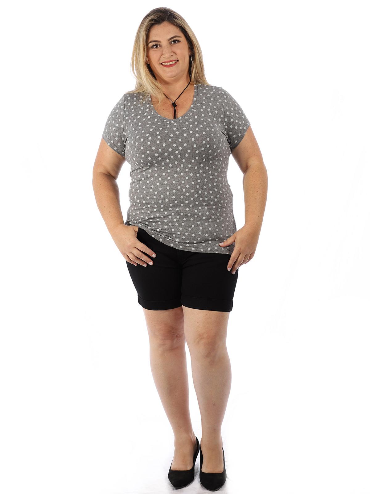 Blusa Plus Size Feminina Decote V. Estampada Mescla Escuro