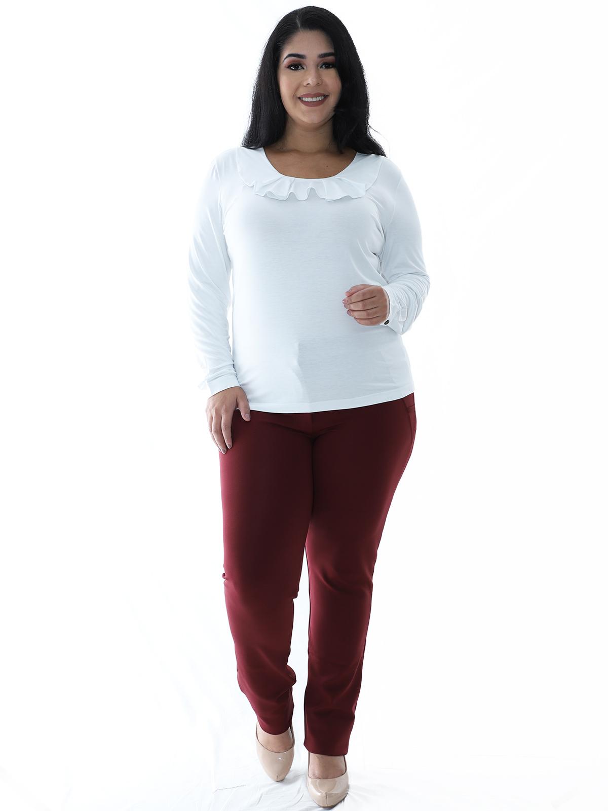 Blusa Plus Size Feminina Manga Longa Decote Redondo Branca