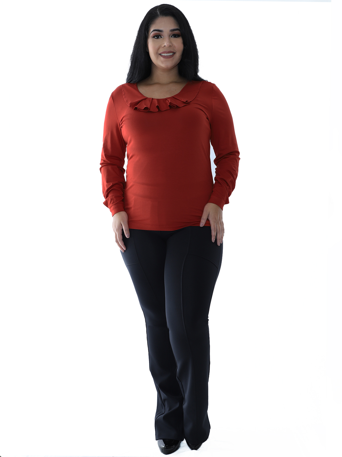 Blusa Plus Size Feminina Manga Longa Decote Redondo Tijolo