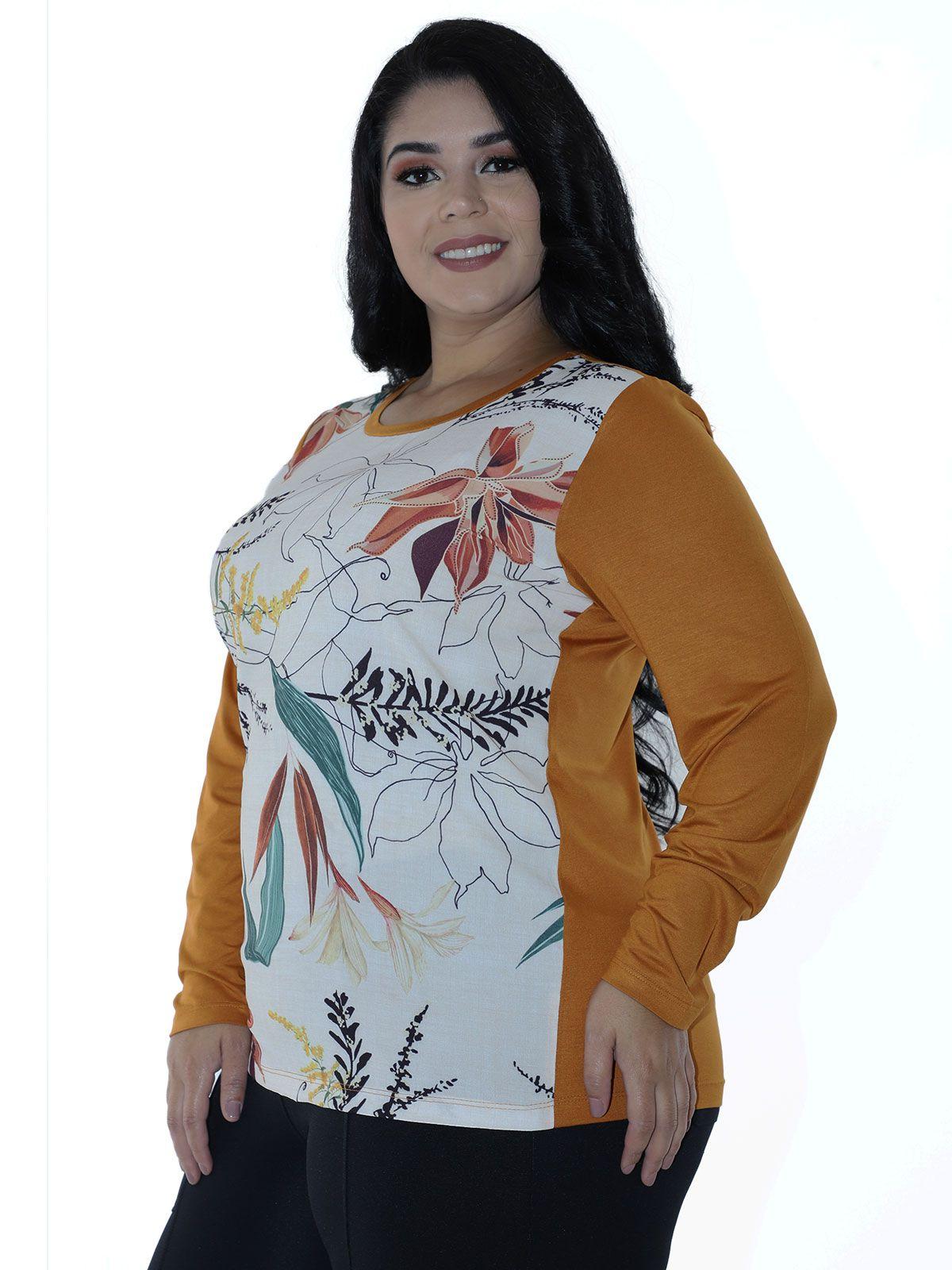 Blusa Plus Size Feminina Manga Longa Frente de Crepe Estampado Off White