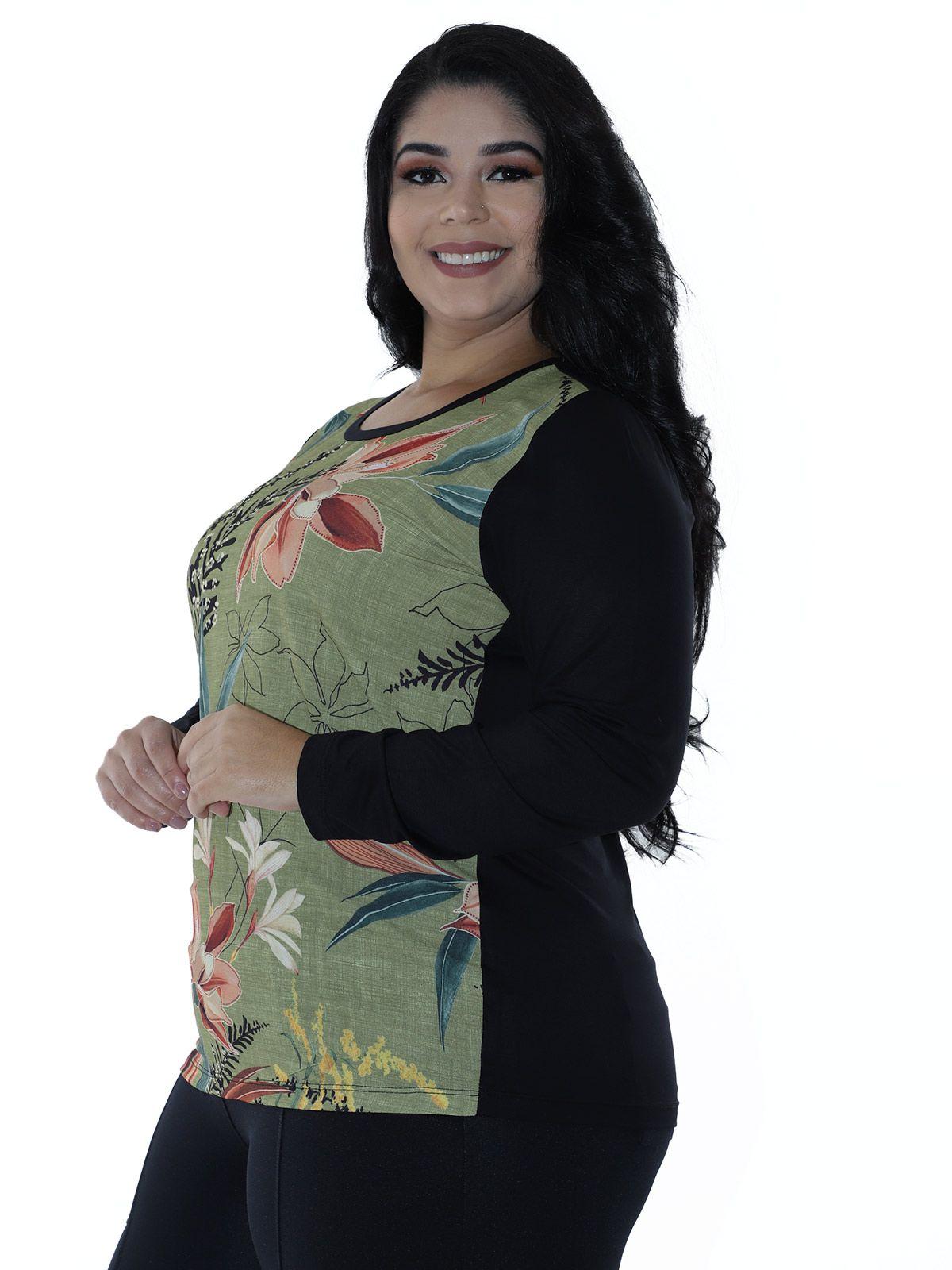 Blusa Plus Size Feminina Manga Longa Frente de Crepe Estampado Verde