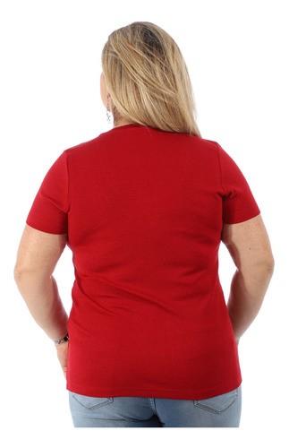 Blusa Plus Size Feminina Visco Canelado Manga Curta Vermelha