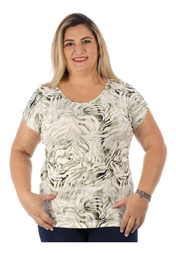Blusa Plus Size Feminina Visco Estampada Manga Curta Verde