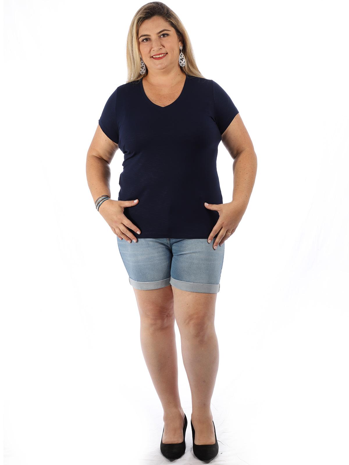 Blusa Plus Size Feminina Visco Flame Decote V. Lisa Marinho