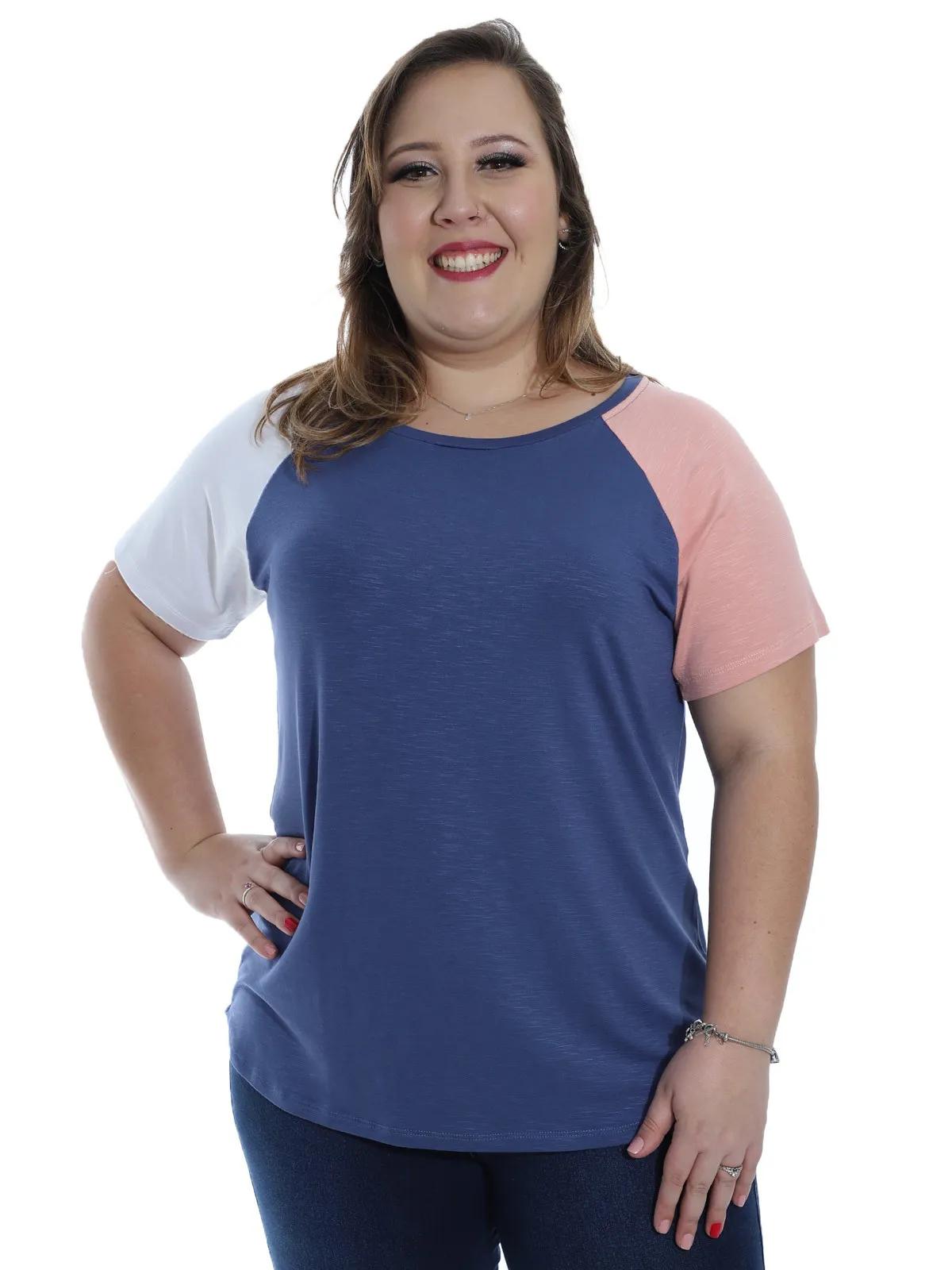 Blusa Plus Size Feminina Viscolycra Contraste Decote Redondo Azul