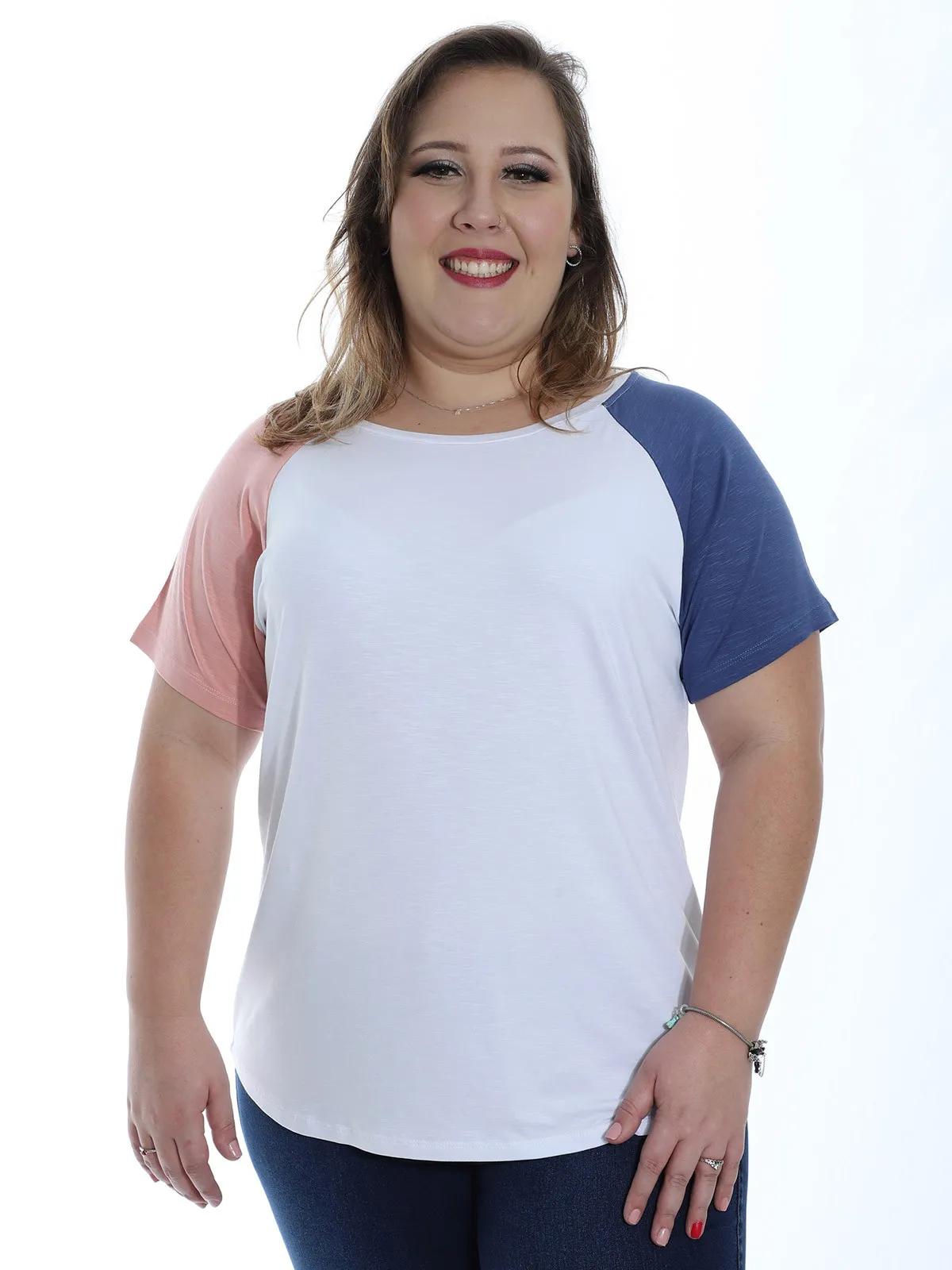 Blusa Plus Size Feminina Viscolycra Contraste Decote Redondo Branco