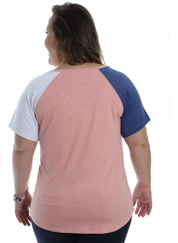 Blusa Plus Size Feminina Viscolycra Contraste Decote Redondo Rosa