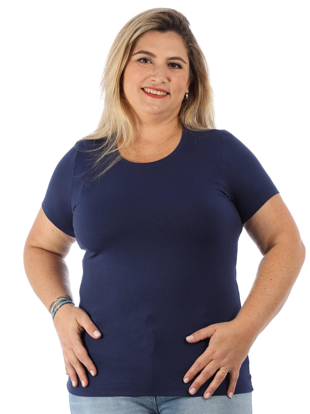 Blusa Plus Size Feminina Viscolycra Decote Redondo Azul Marinho