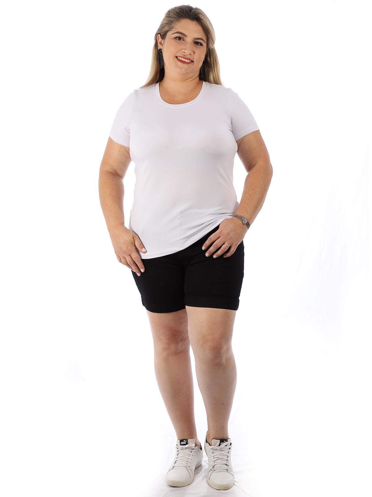 Blusa Plus Size Feminina Viscolycra Decote Redondo Branco