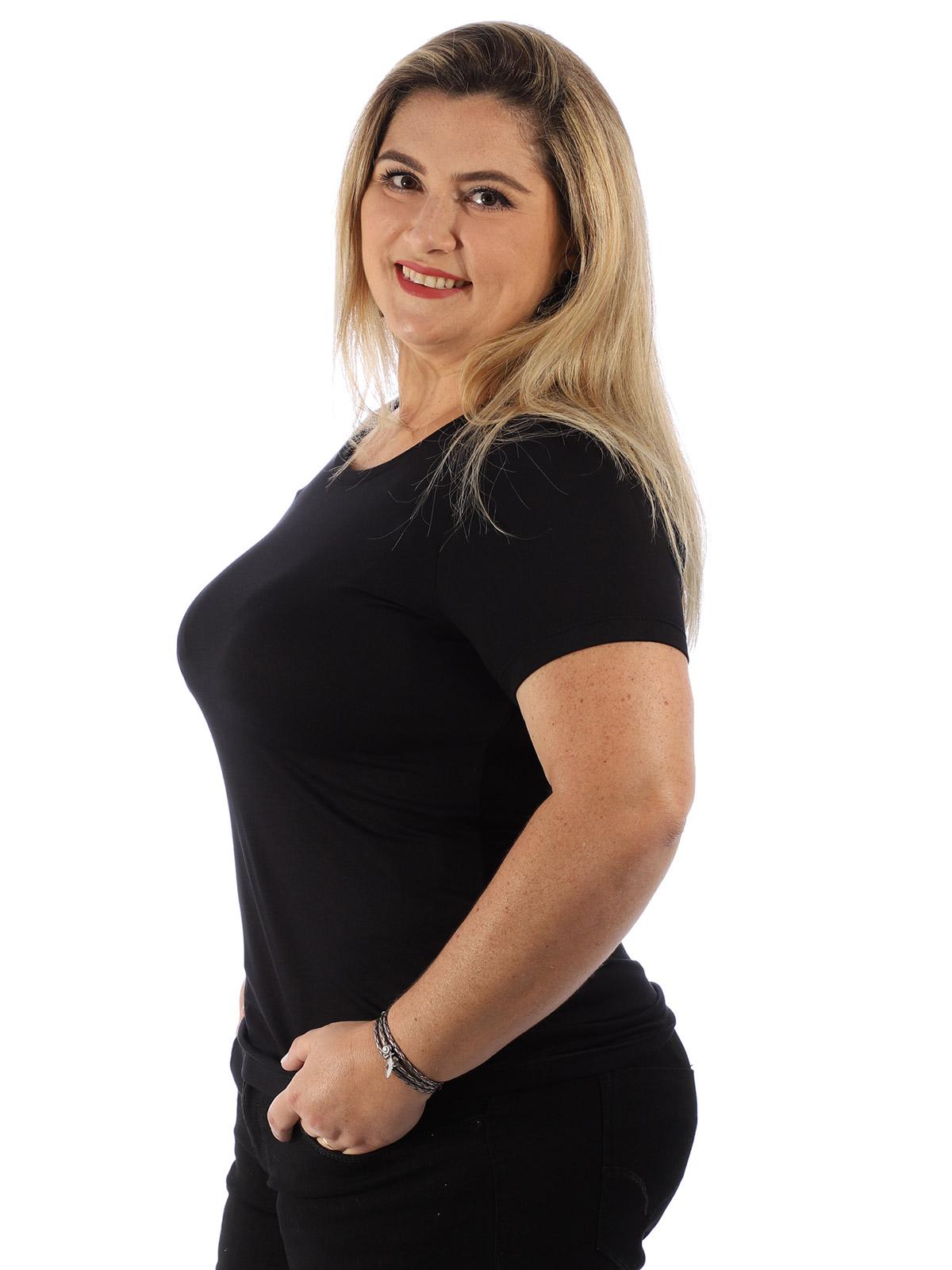 Blusa Plus Size Feminina Viscolycra Decote Redondo Preto