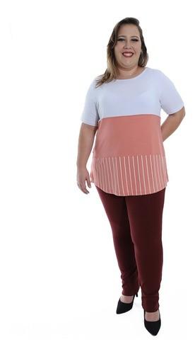 Blusa Plus Size Feminino Decote Semi-Canoa Longuete Branco