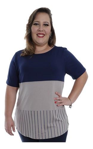 Blusa Plus Size Feminino Decote Semi-Canoa Longuete Marinho