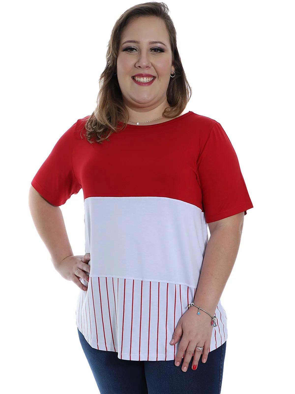 Blusa Plus Size Feminino Decote Semi-Canoa Longuete Vermelho