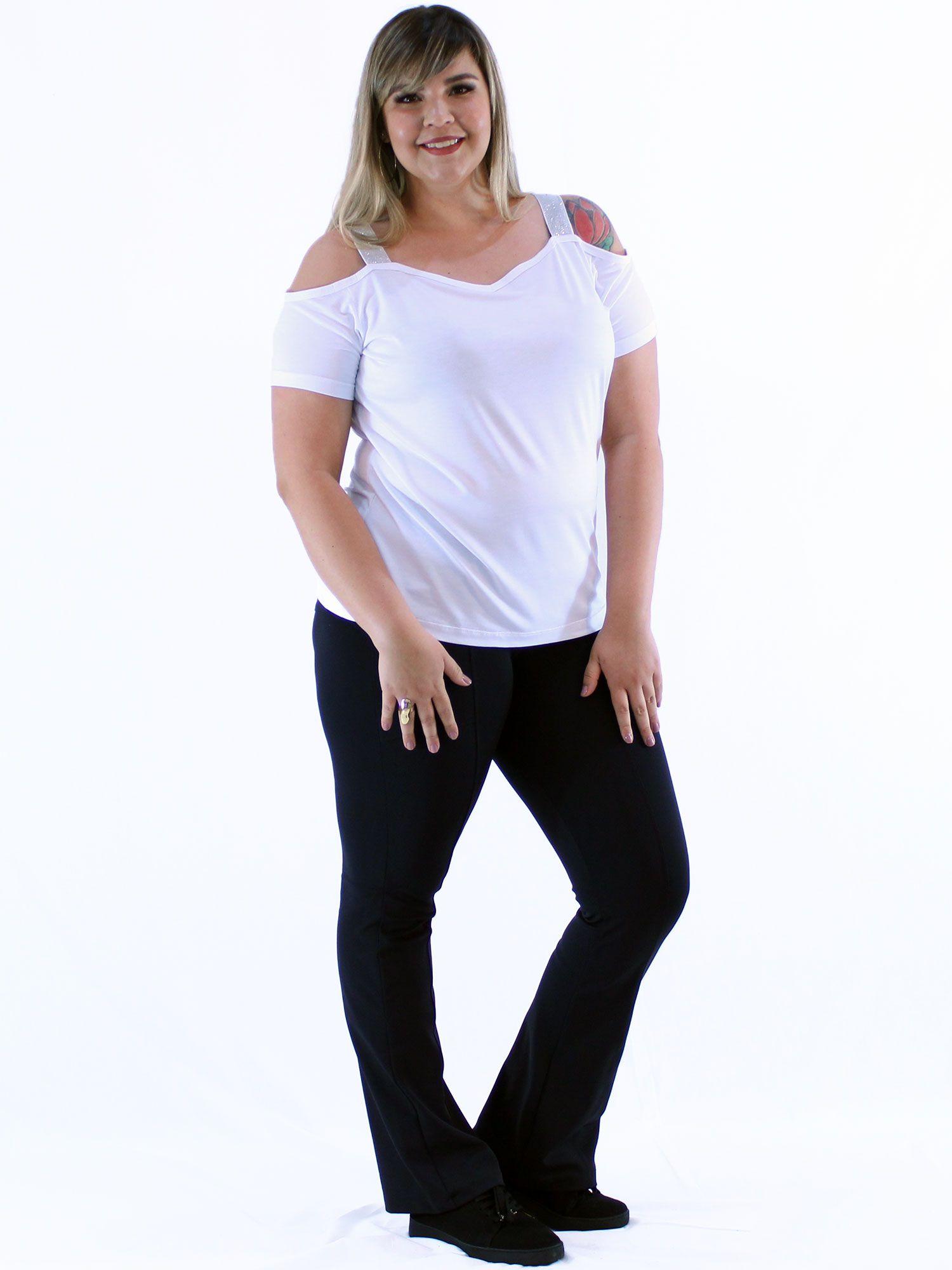 Blusa Plus Size KTS Alça com Brilho Branco