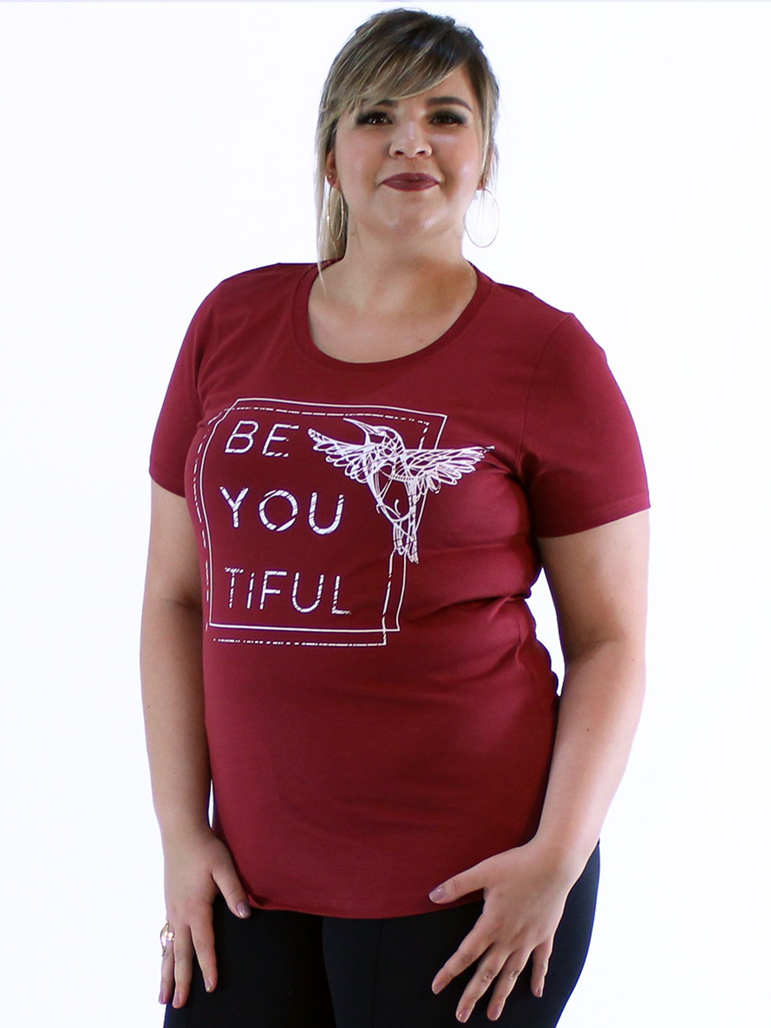 Blusa Plus Size KTS com Estampa Bordo