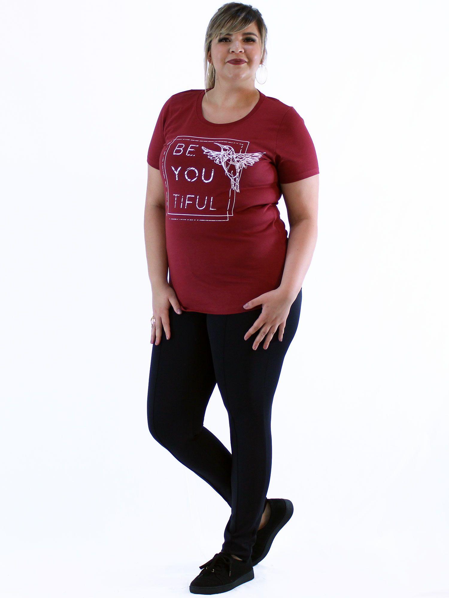 Blusa Plus Size KTS com Estampa Bordo
