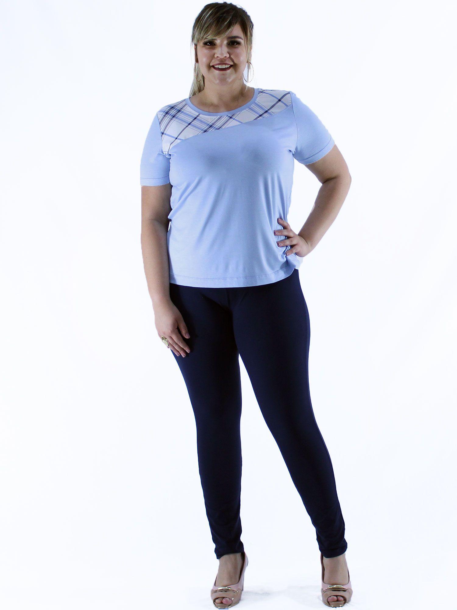 Blusa Plus Size KTS com Pala Contraste Azul