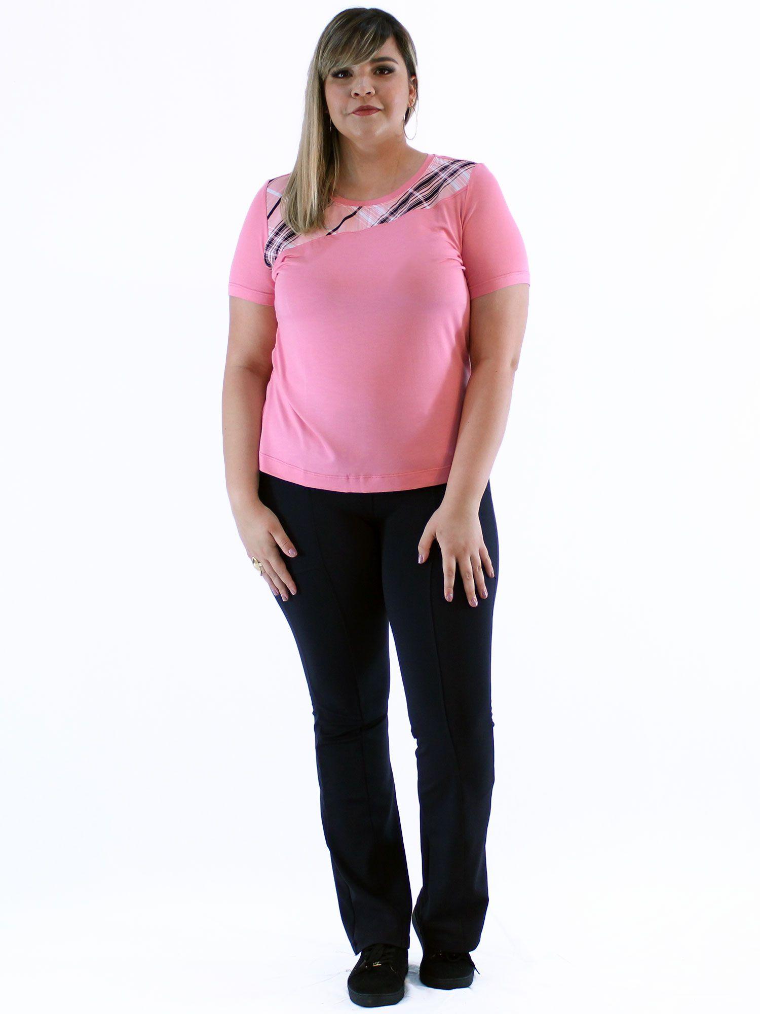 Blusa Plus Size KTS com Pala Contraste Rosa