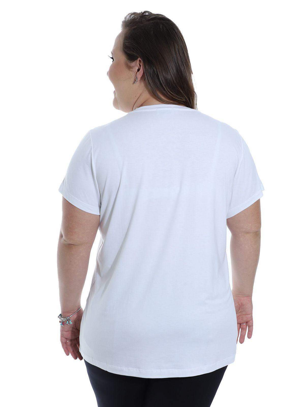 Blusa Plus Size KTS de Viscolycra com Aplicação Branca
