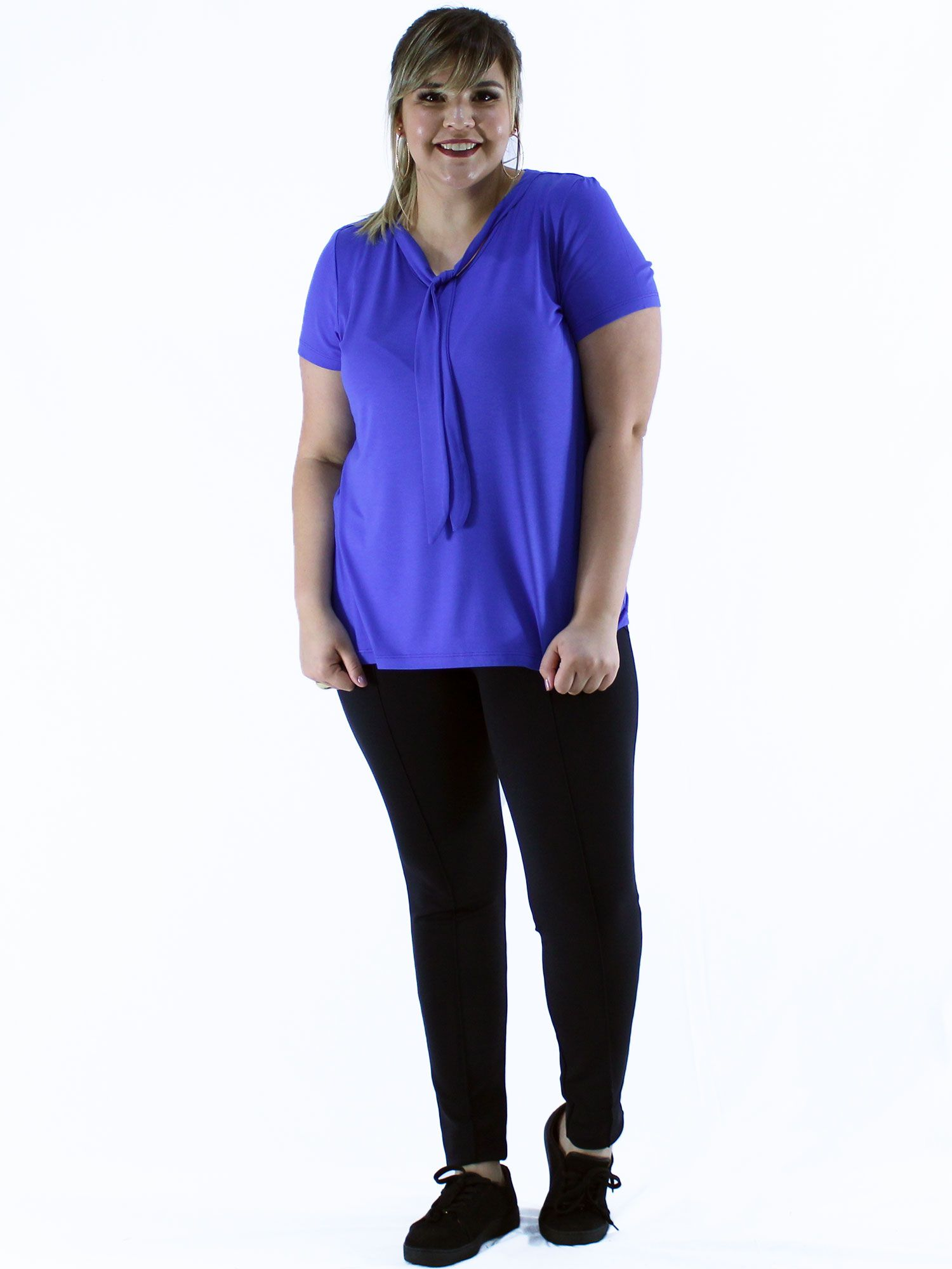 Blusa Plus Size KTS Decote Laço Bic