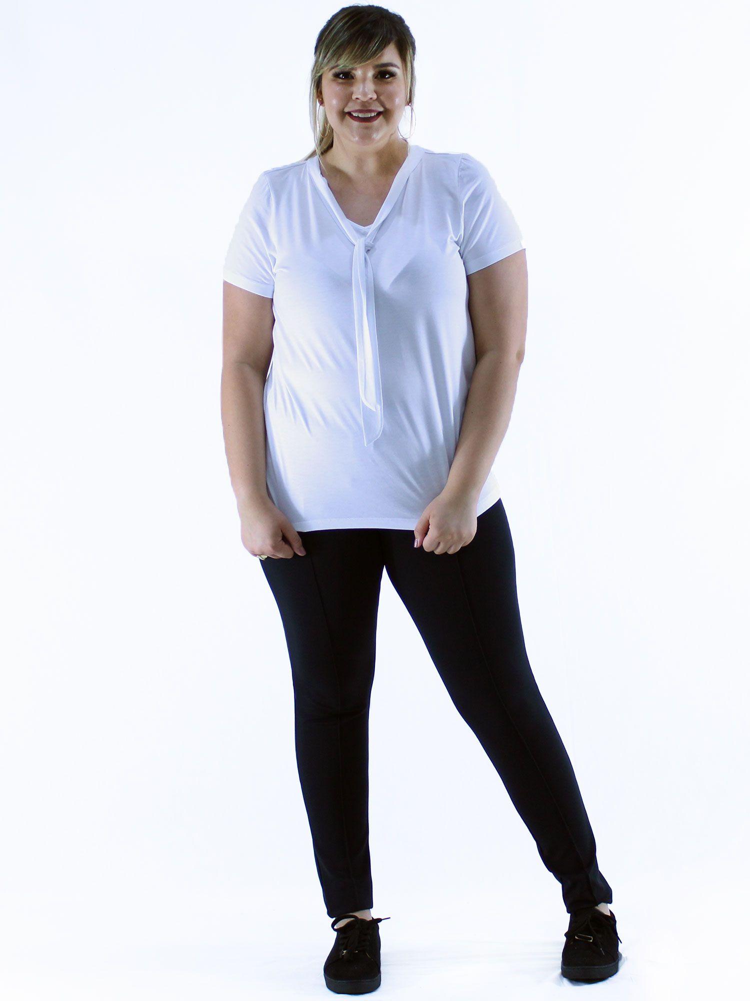 Blusa Plus Size KTS Decote Laço Branco