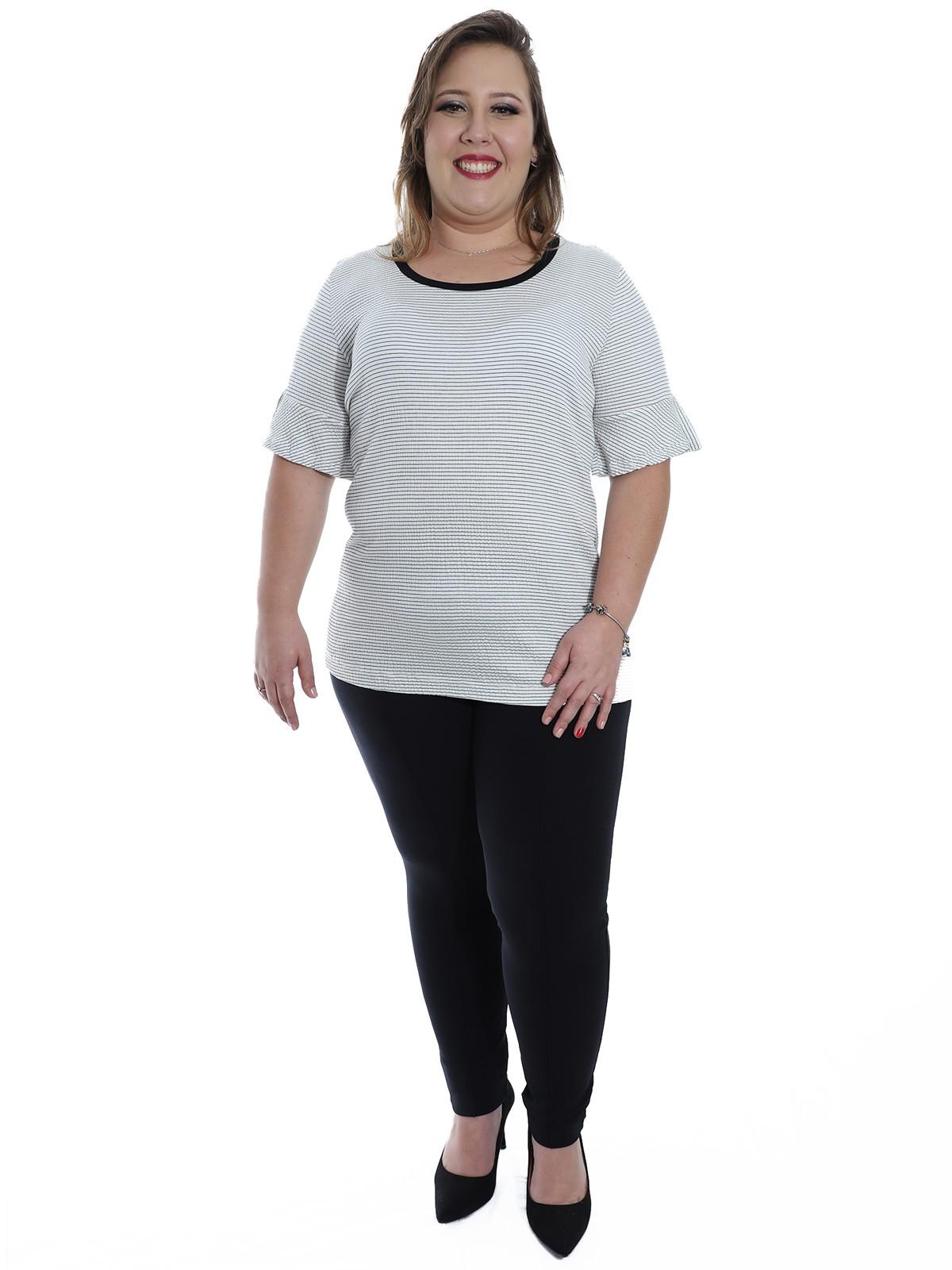 Blusa Plus Size KTS Decote U Fio Tinto Branco