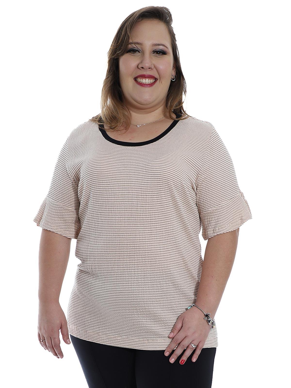 Blusa Plus Size KTS Decote U Fio Tinto Coral