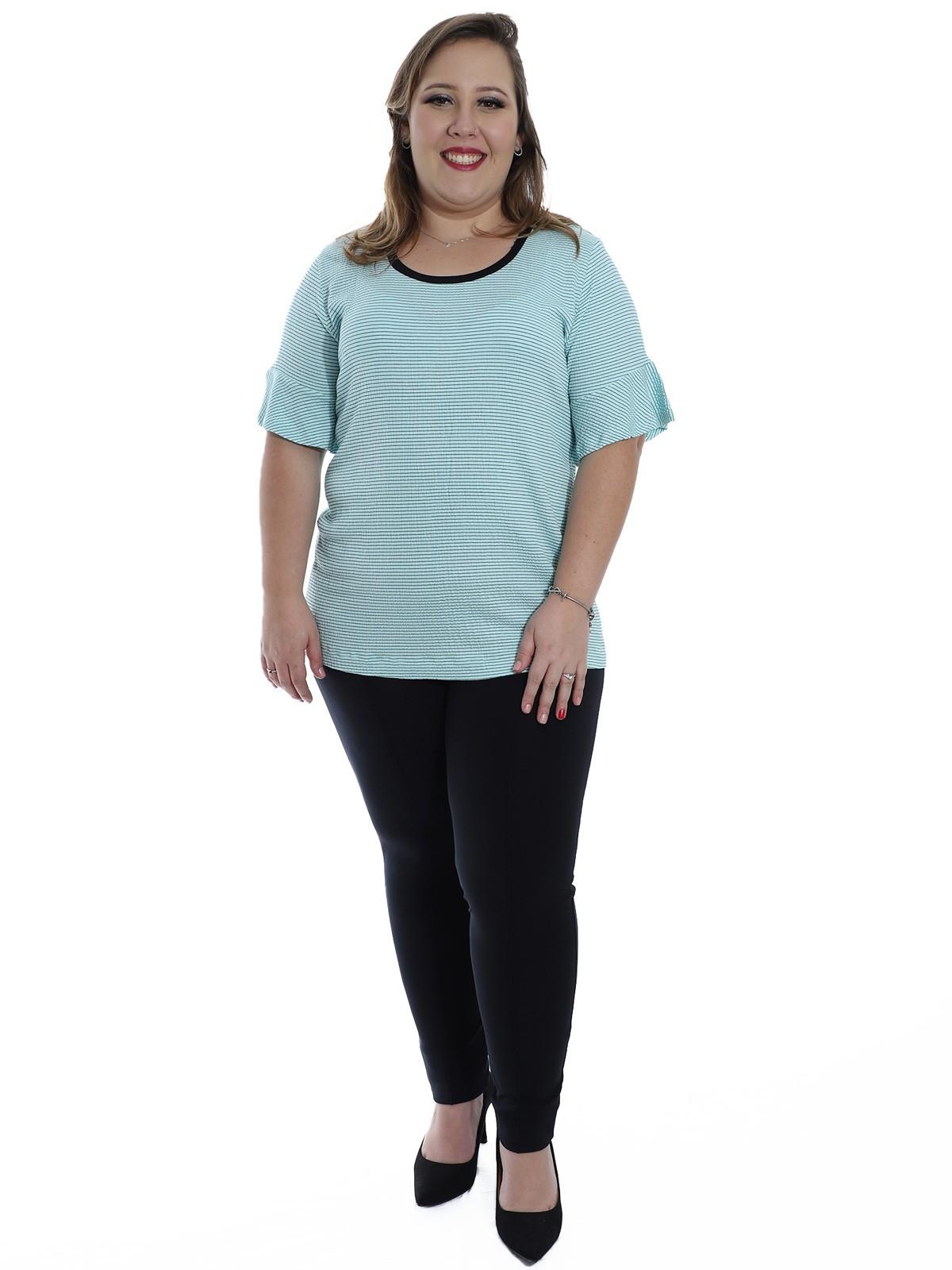 Blusa Plus Size KTS Decote U Fio Tinto Verde