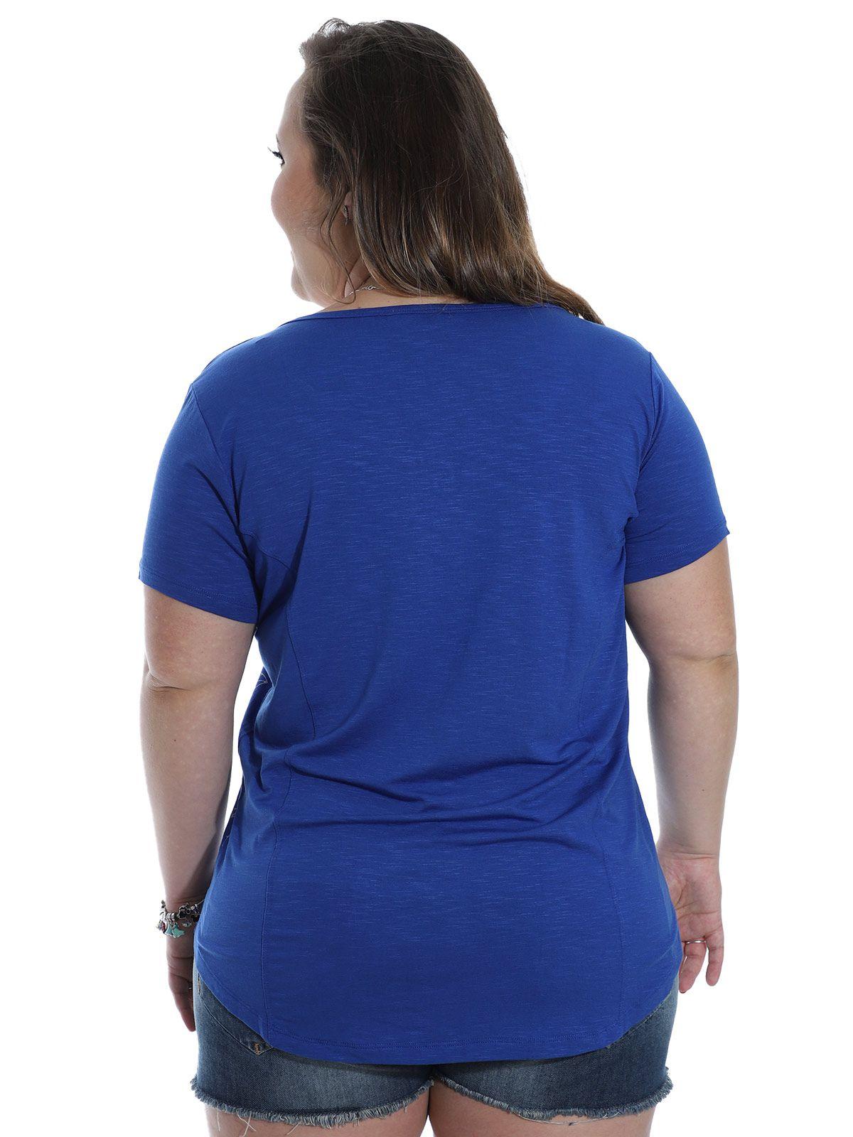Blusa Plus Size KTS Decote V. com Estampa Bic