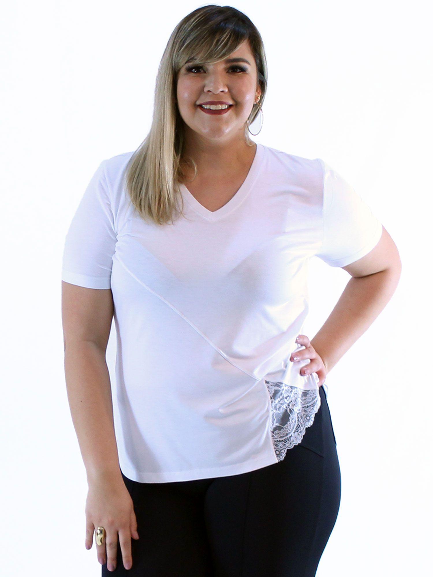 Blusa Plus Size KTS Decote V. com Renda Lateral Branco