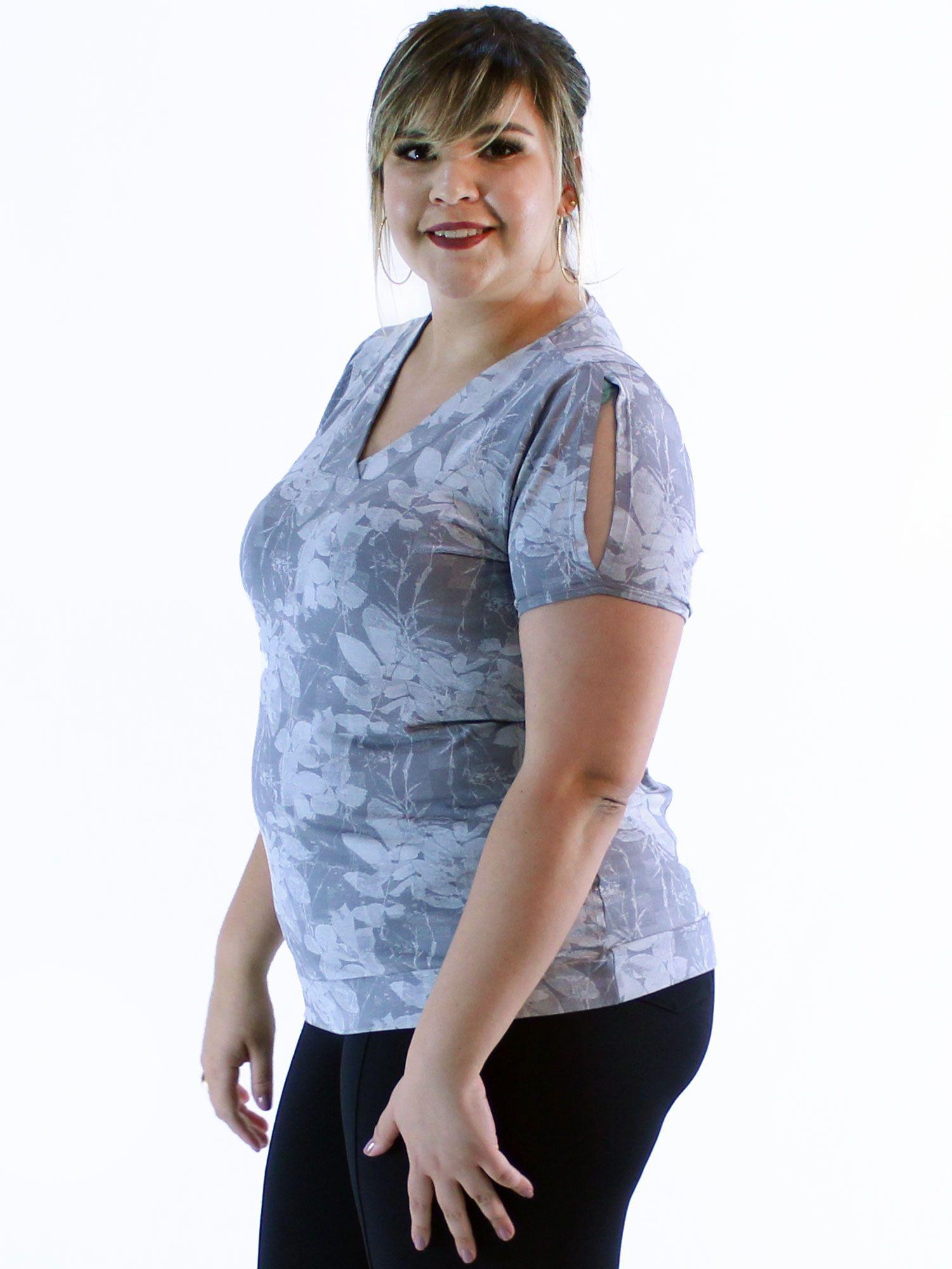 Blusa Plus Size KTS Estampada Decote Diferenciada Cinza