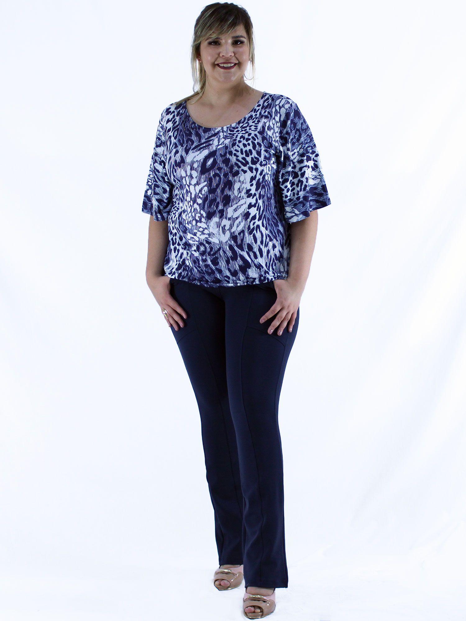 Blusa Plus Size KTS Estampada Marinho