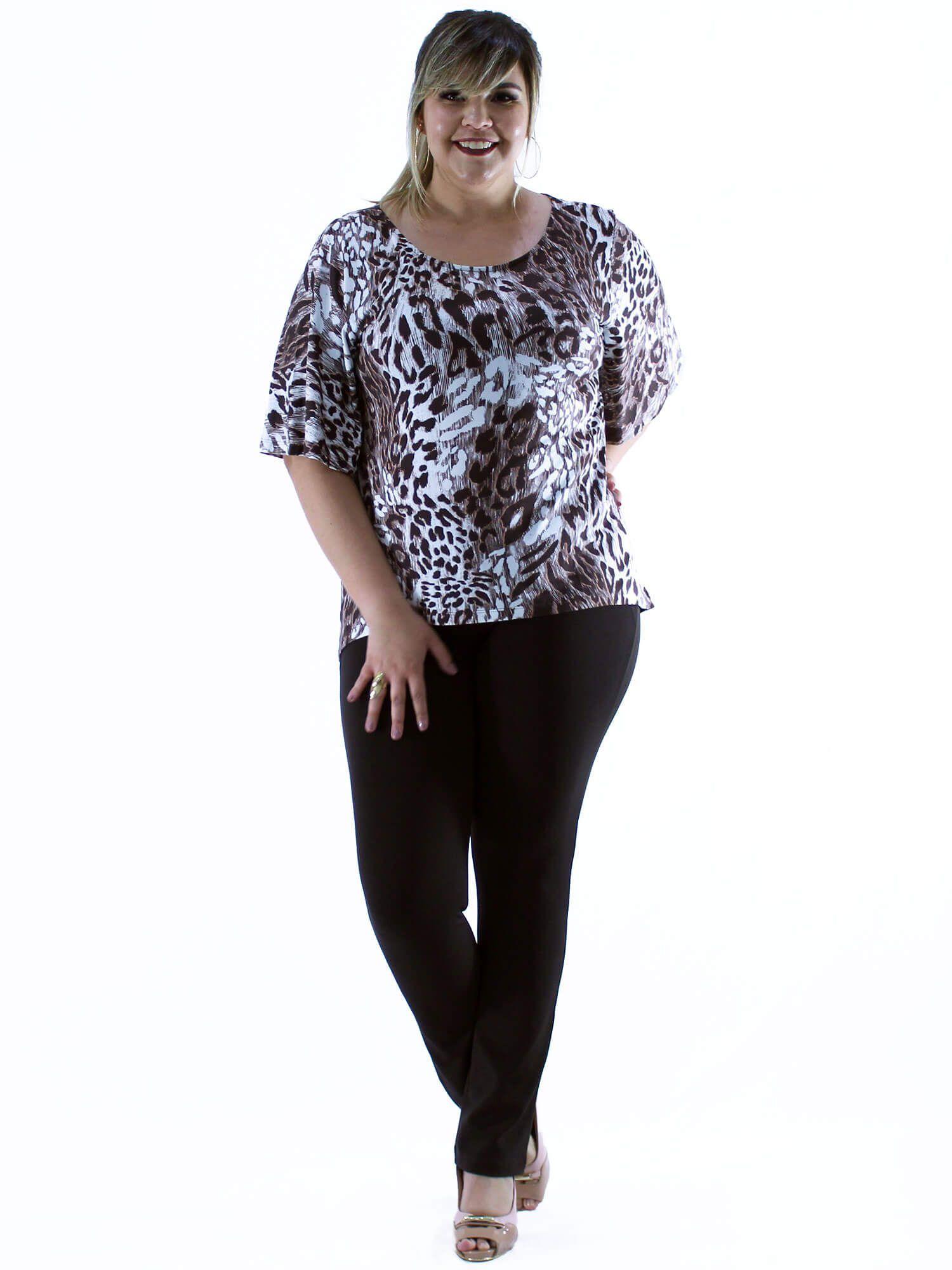 Blusa Plus Size KTS Estampada Marrom