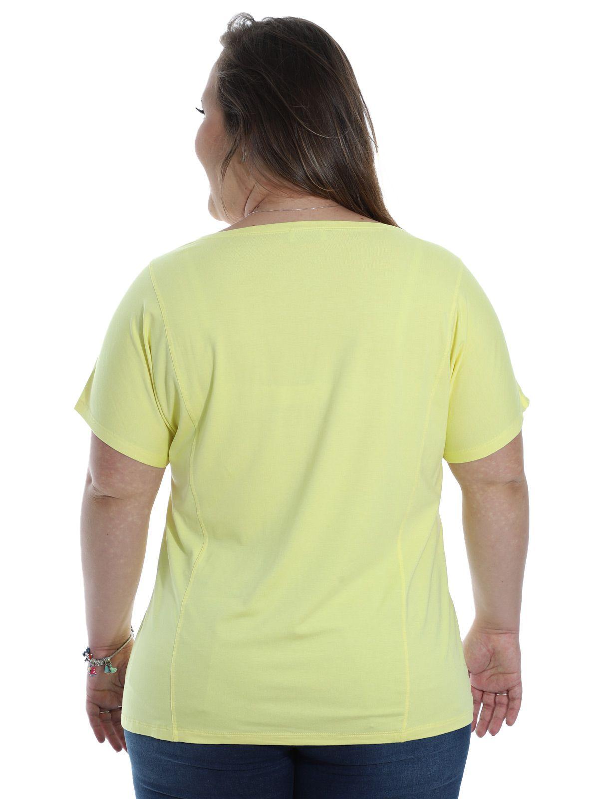 Blusa Plus Size KTS Frente com Estampa Color Amarelo