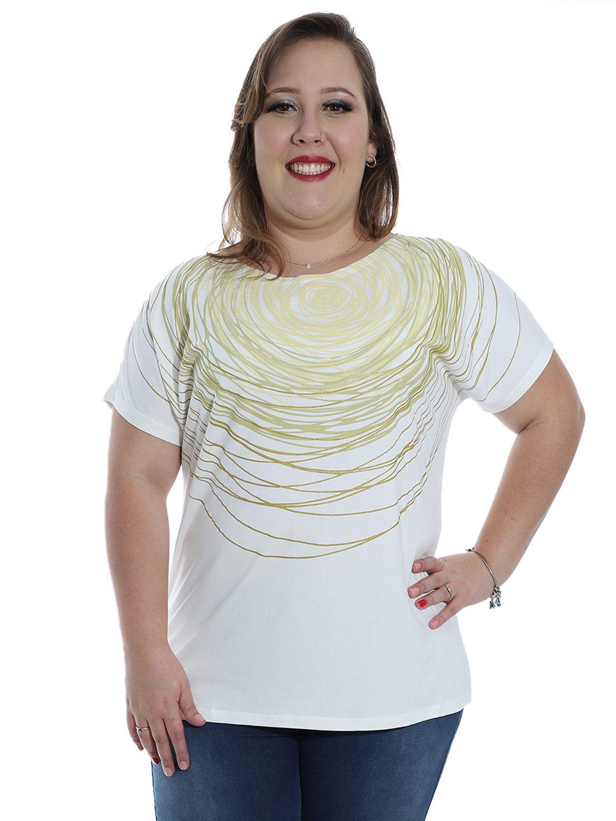Blusa Plus Size KTS Frente com Estampa Color Branco