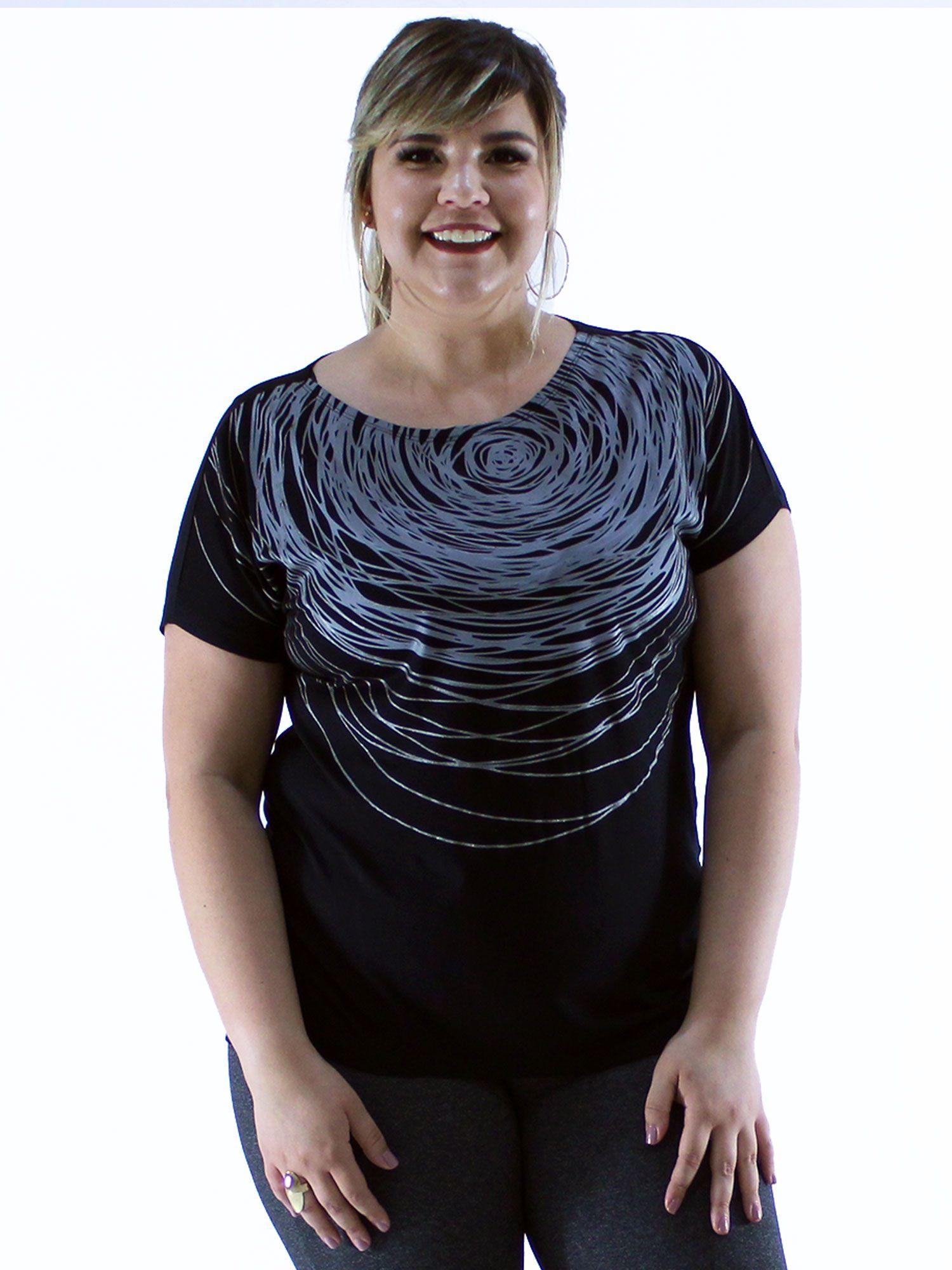 Blusa Plus Size KTS Frente com Estampa Color Preto