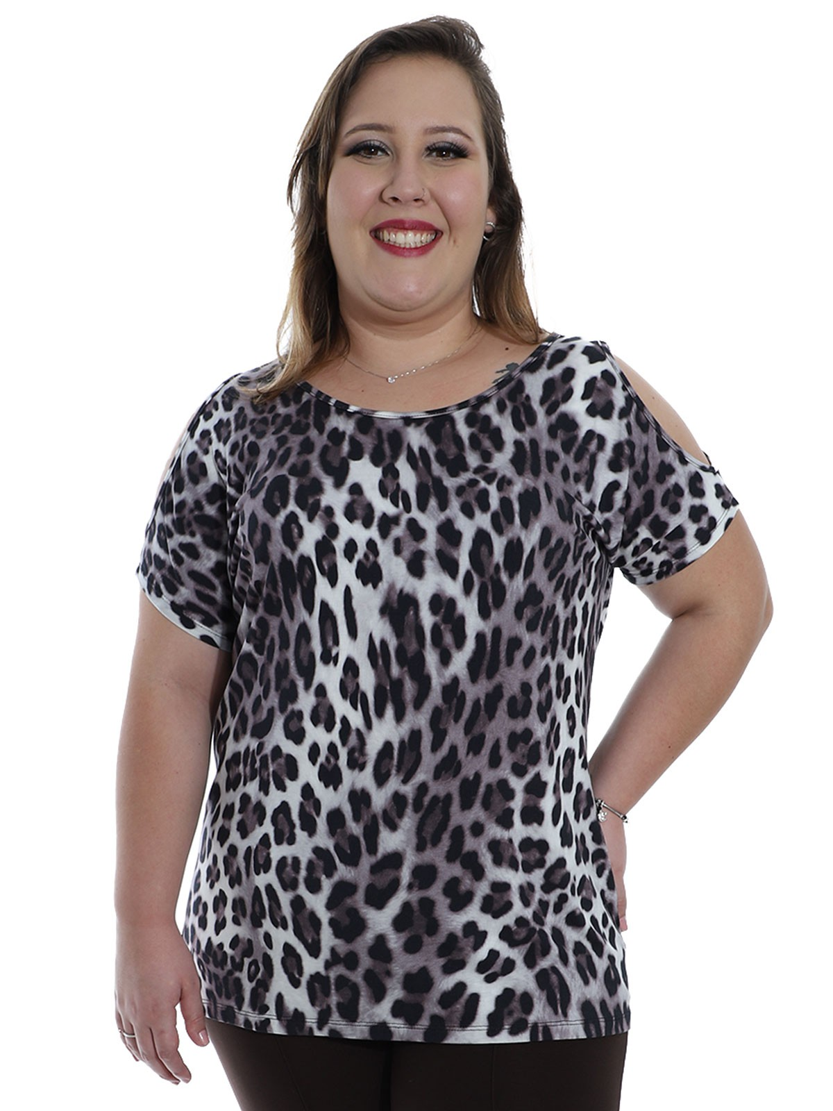 Blusa Plus Size KTS Ombro Diferenciado Preto