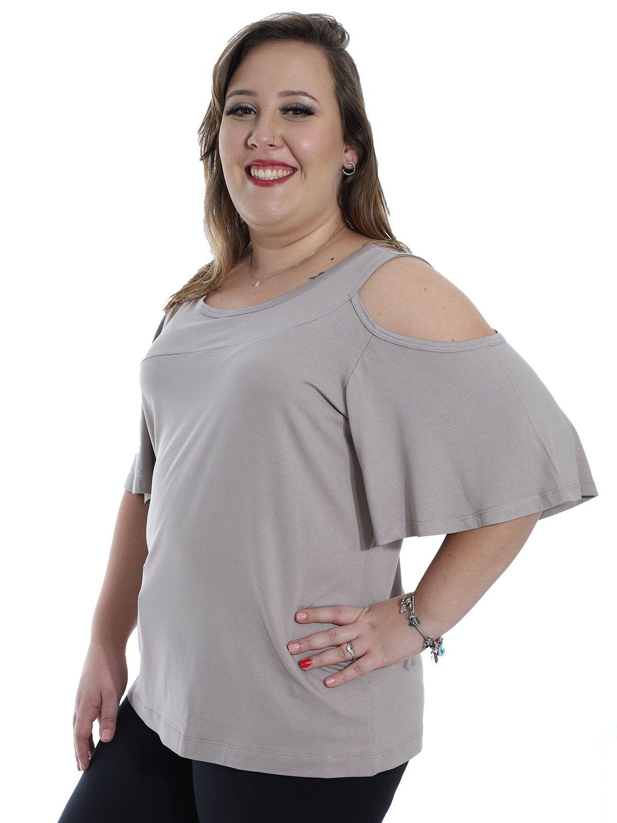 Blusa Plus Size KTS Recortes Areia