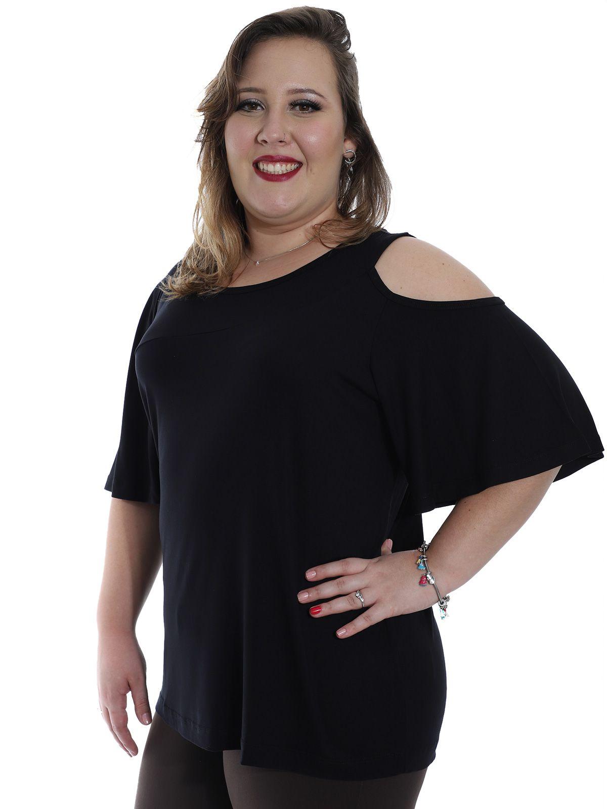 Blusa Plus Size KTS Recortes Preto