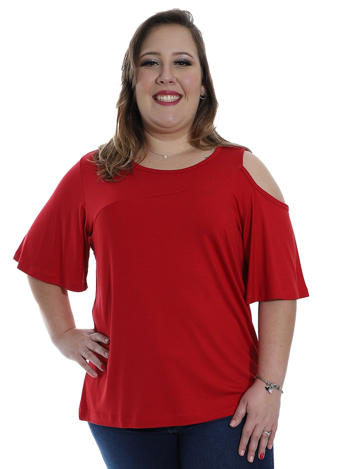 Blusa Plus Size KTS Recortes Vermelho