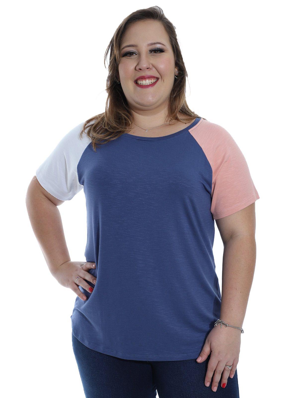 Blusa Plus Size KTS Visco Flame Colors Azul