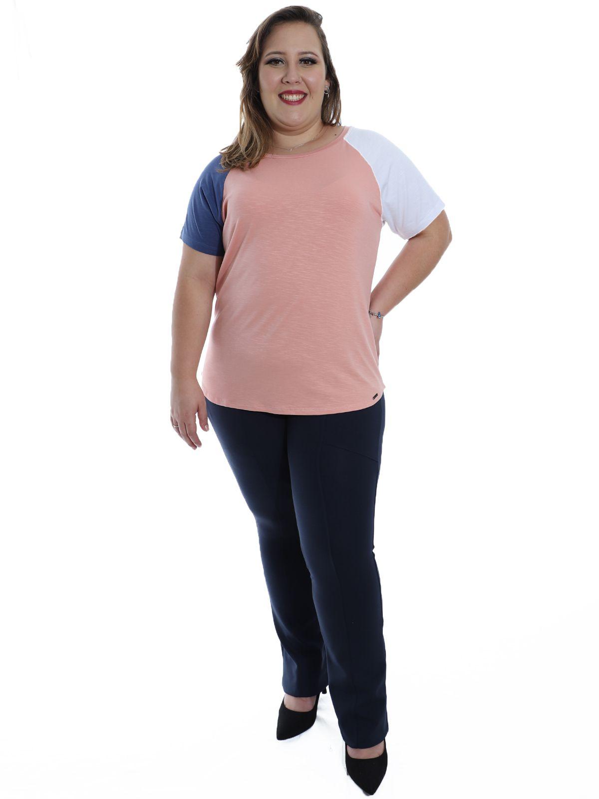 Blusa Plus Size KTS Visco Flame Colors Rosa