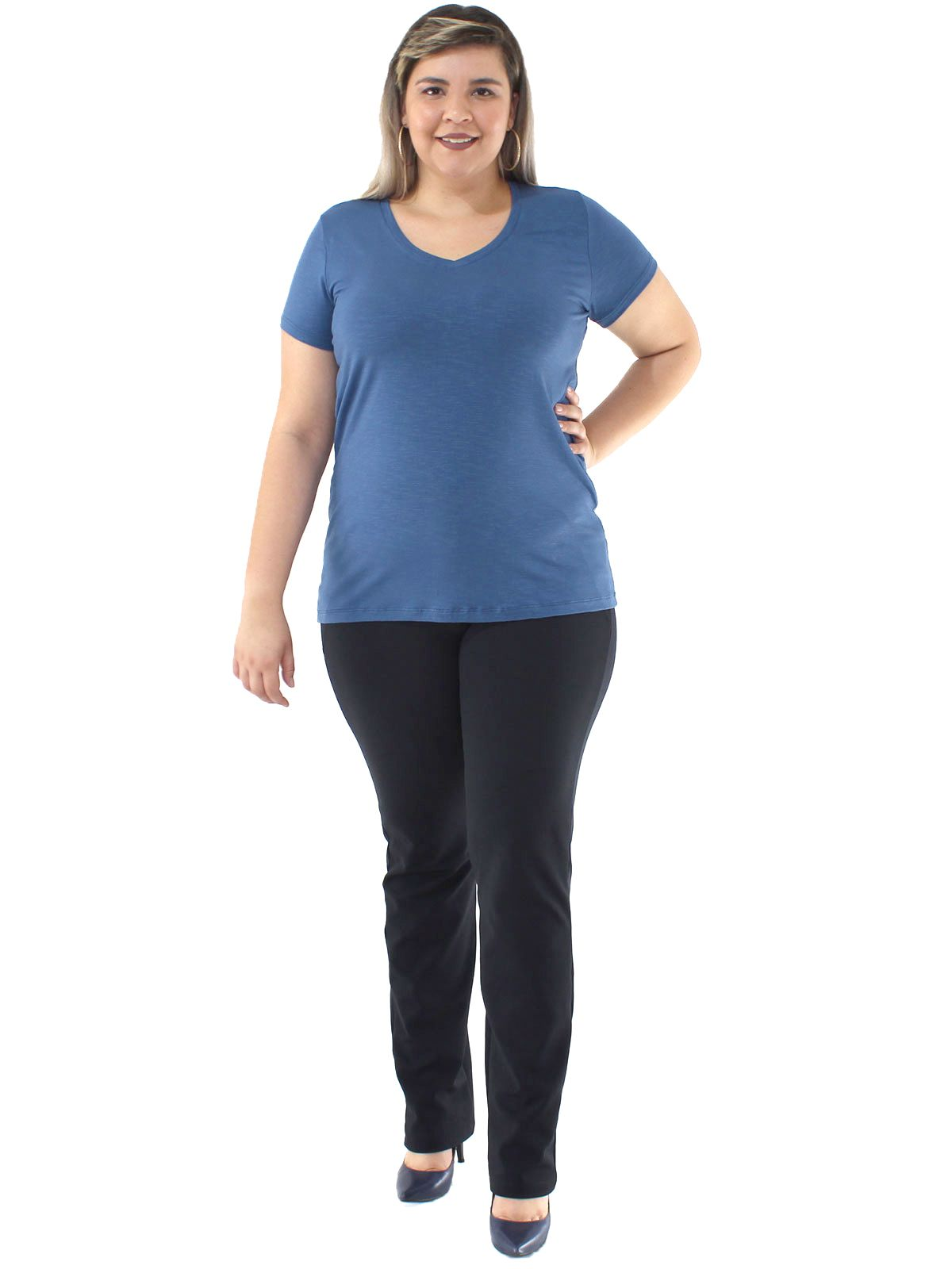 Blusa Plus Size KTS Visco Flame Decote V. Azul Jeans