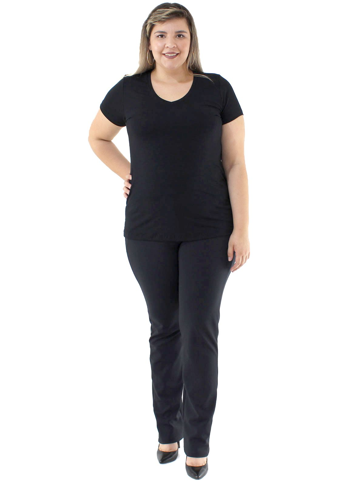 Blusa Plus Size KTS Visco Flame Decote V. Preto