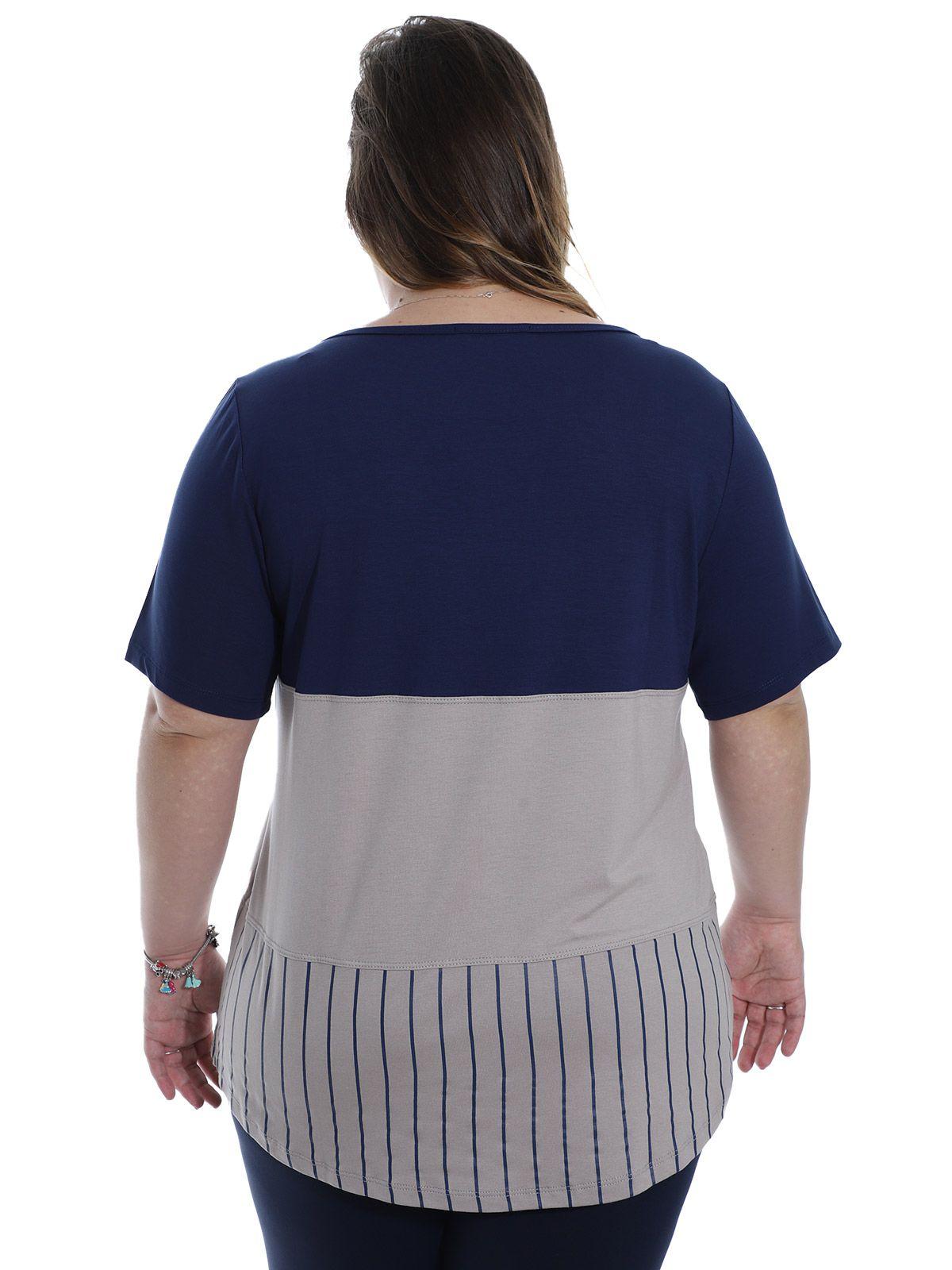 Blusa Plus Size KTS Viscolycra Bicolor Marinho