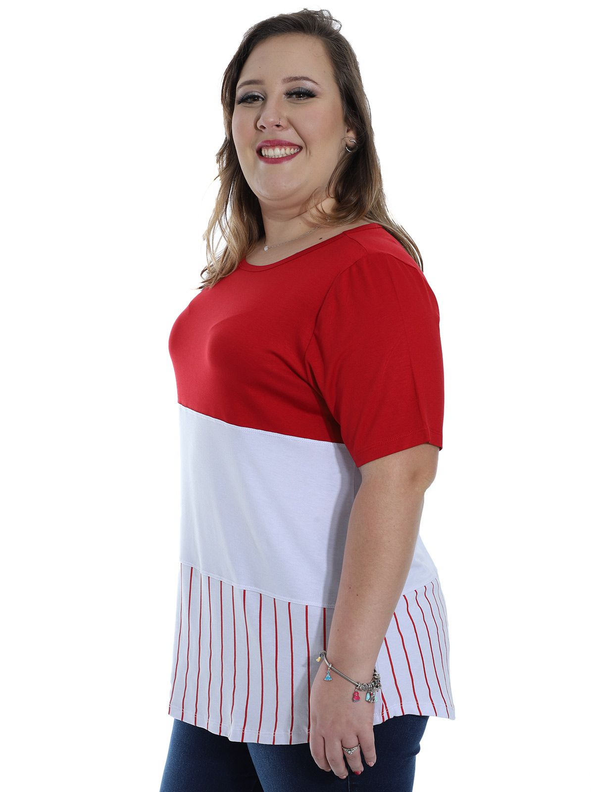 Blusa Plus Size KTS Viscolycra Bicolor Vermelho