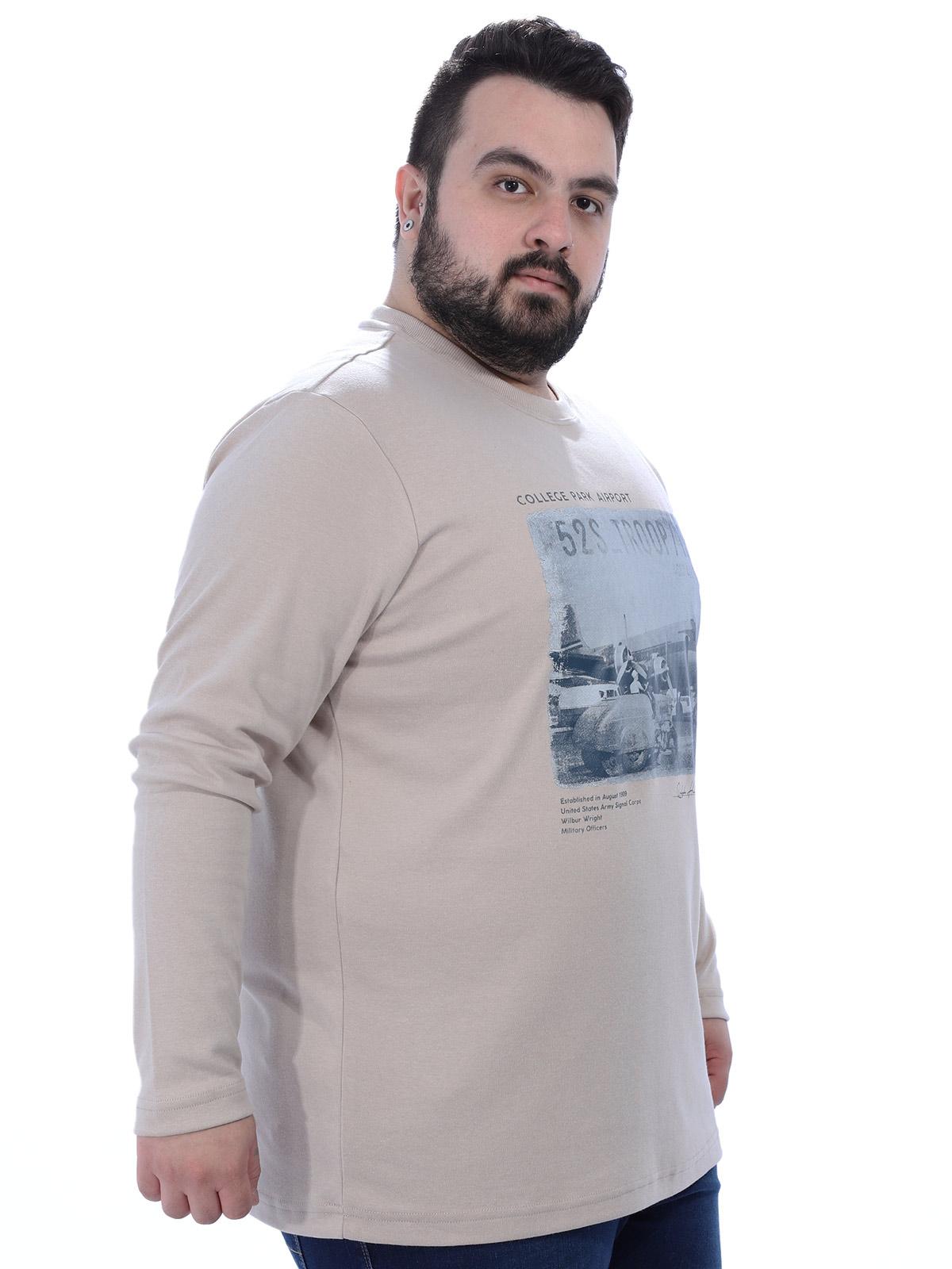 Blusa Plus Size Masculino Manga Longa Gola Careca Air Areia