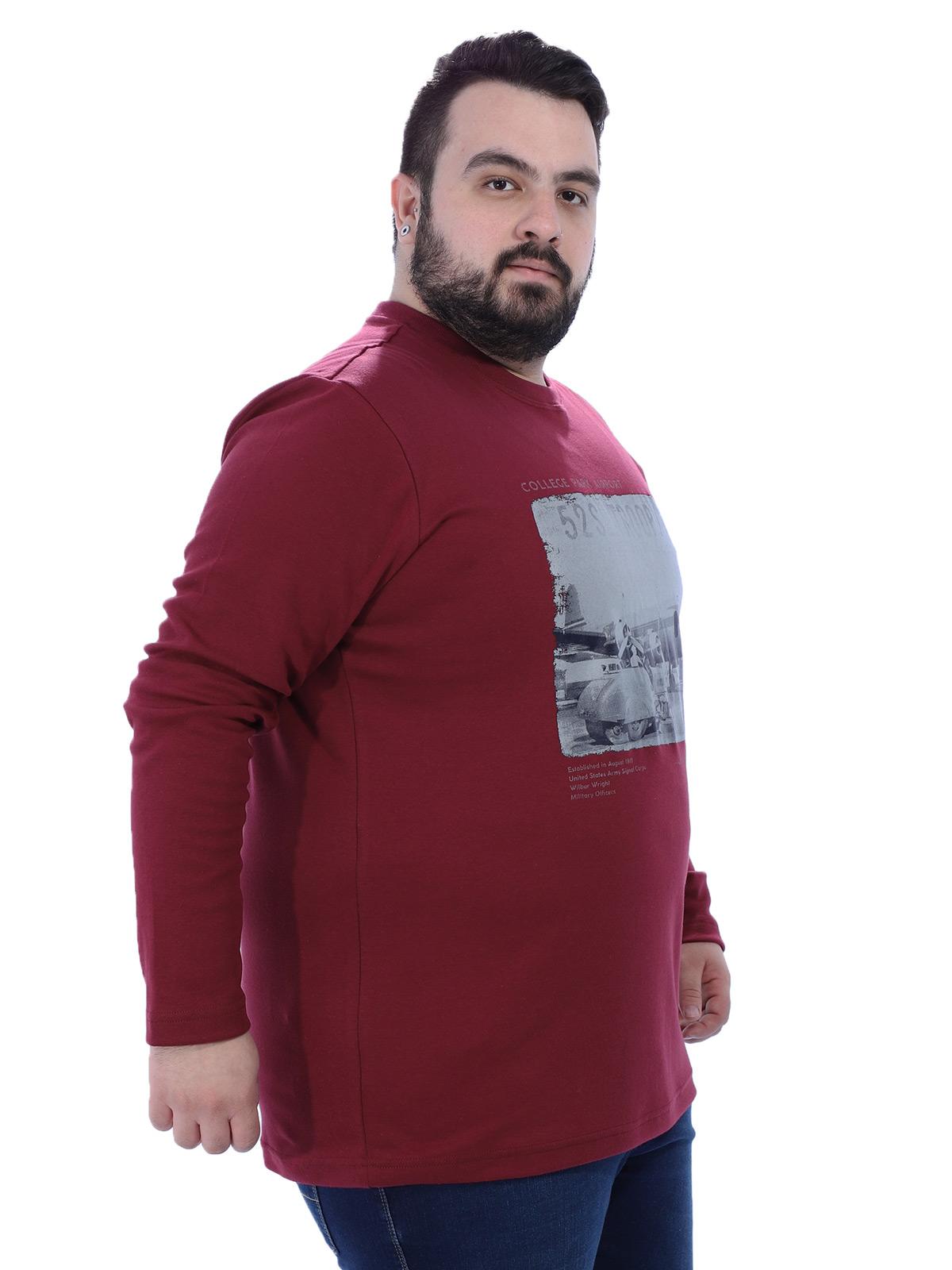Blusa Plus Size Masculino Manga Longa Gola Careca Air Vinho